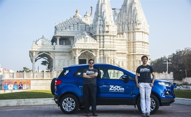 Zoomcar, founded by David Back (left) and Greg Moran, rents cars by the hour, day, week, or month. Photo courtesy of Zoomcar.