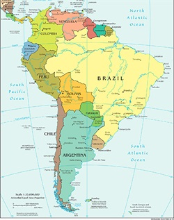 Map of South America. Photo via Wikimedia.