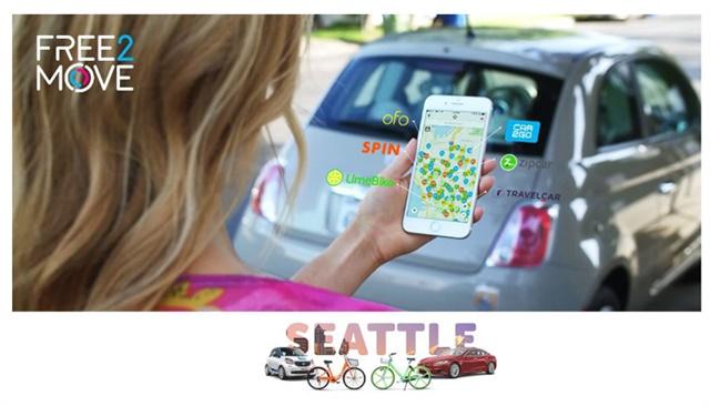 O Groupe PSA lançou sua marca de mobilidade Free2Move em Seattle.  Foto cortesia do Groupe PSA.