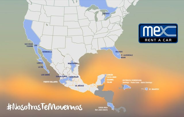 A map of Mex Rent A Car's affiliate locations. Photo courtesy of Mex Rent A Car.