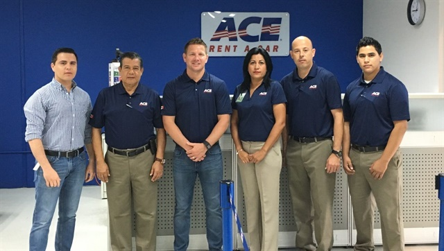 Juan Carlos Morga, Enrique García, Ceven Goodman, and Mex Rent A Car's team at its Cancun Airport location. Photo courtesy of ACE Rent A Car.