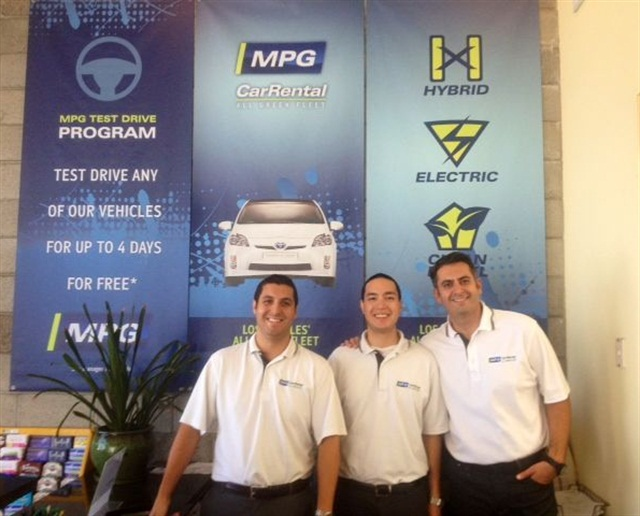 MPG Car Rental in Venice, Calif. Pictured from left to right: Paul Hernandez, manager; Patrick Levenson, assistant manager; Steve Vahidi, owner
