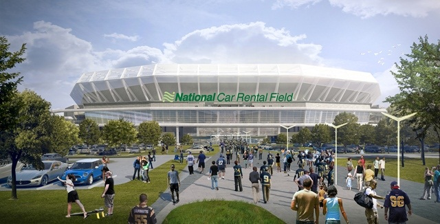 A rendering of National Car Rental Field. Photo courtesy of HOK.