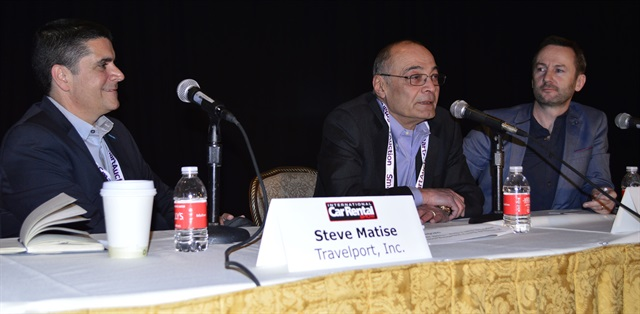 The opening keynote address featured a panel of representatives from car rental and travel platforms: (l to r) Steve Matise of Travelport, Imad Khalidi of Auto Europe; Bobby Healy of CarTrawler.