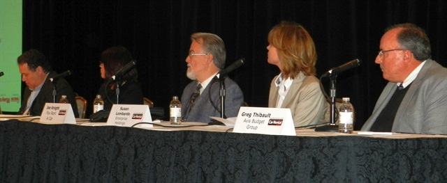 The International Car Rental Show's opening panel included (l to r): Bob Barton of Hertz; Caroline Costello of Fiat Chrysler Automobiles; Joe Knight of Fox Rent-A-Car; Susan Lombardo of Enterprise Holdings; Greg Thibault of Avis Budget Group. Photo by Amy Winter.