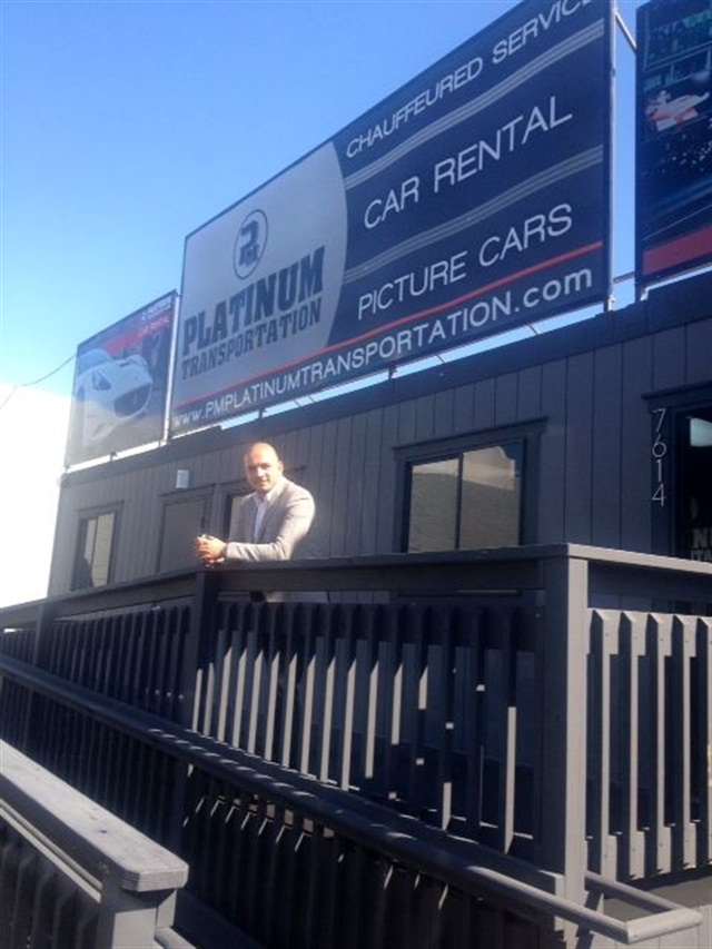 Sam Telikyan, owner of Platinum Transportation, at the rental location in Hollywood.