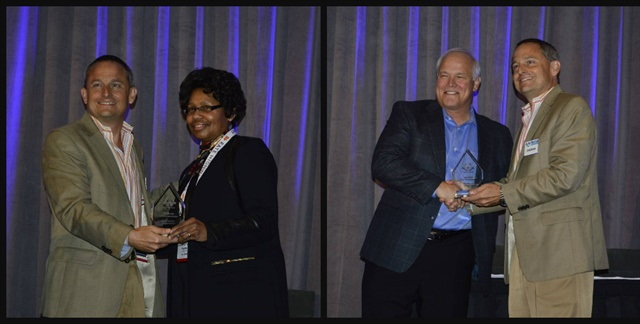 Chris Brown, executive editor of Auto Rental News, presented the two Professional of the Year Awards. Pat Bowie (left photo) received the award for the operator and Joe Pritchard (right photo) won for the vendor category. Photos by Amy Winter-Hercher.