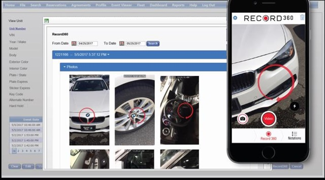 Record360 replaces the paper vehicle walk-around process with video and photos. Photo courtesy of Record360.