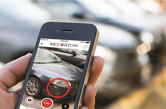 With the Record360 app, rental car employees can take still photos as well as video when performing a vehicle walk-around. Photo courtesy of Record360.