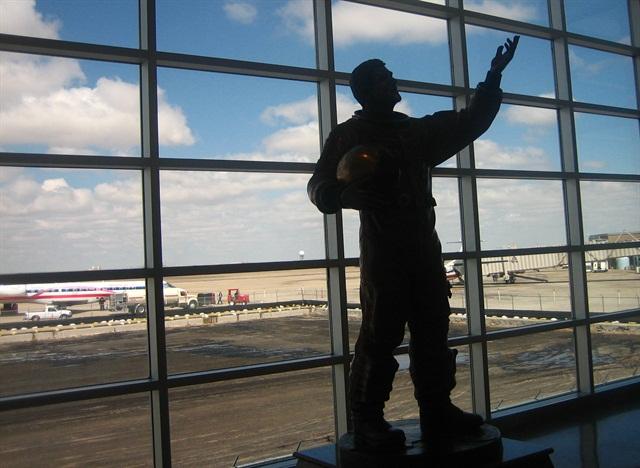 The Rick Husband statue at Amarillo's airport.