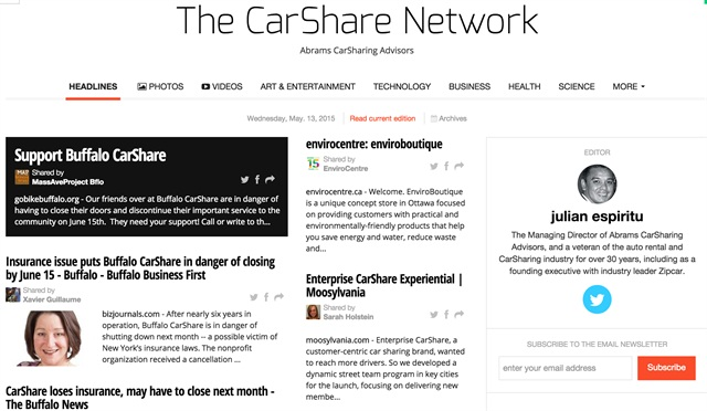 The CarShare Network homepage