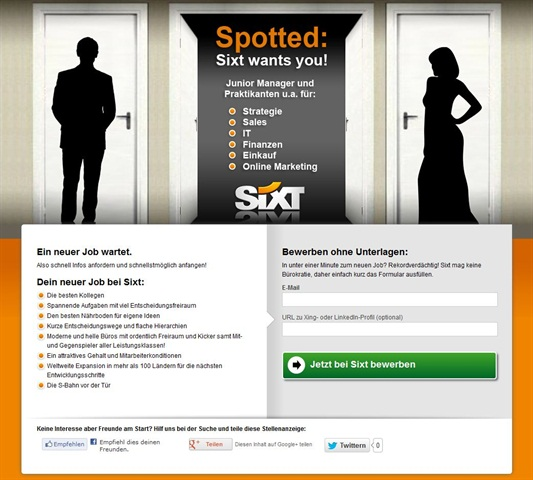 Screenshot courtesy of Sixt. An example of what the landing page looked like after students would click on the anonymous post from Spotted Facebook pages.