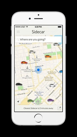 A screenshot from the Sidecar mobile app. Photo courtesy of Sidecar.