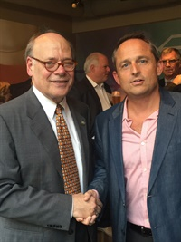 Congressman Steve Cohen (D-Tenn.), co-sponsor of the House FAA reauthorization bill amendment, shakes hands with Chris Brown, executive editor of Auto Rental News. Photo courtesy of Chris Brown.