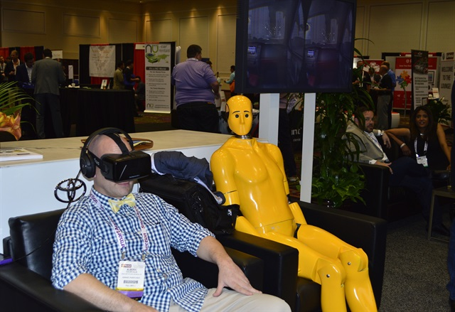 In the exhibit hall, Toyota's booth provided attendees with a virtual reality experience of the technology's safety features.