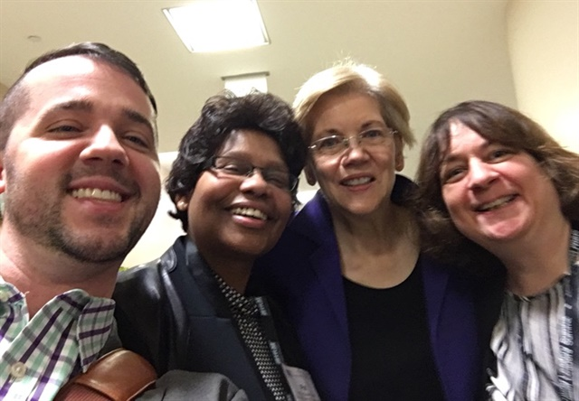 Pat Bowie (second from left) and SHRM team members ran into Sen. Elizabeth Warren (D-Mass.) and posed for a selfie. Photo courtesy of Pat Bowie.