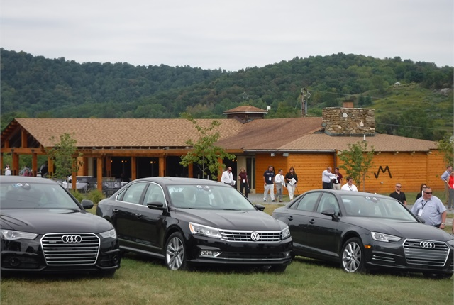 An Audi A8 LWB 3.0T Quattro, Volkswagen Passat 1.8T R-Line, and Audi A4 2.0T Quattro sit at Marriott Ranch in Hume, Va.